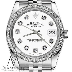 Rolex Womens Rolex 26mm Datejust Stainless Steel White Color Dial With Diamonds Watch