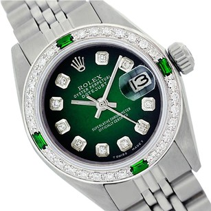 Rolex WOMENS ROLEX DATEJUST GREEN VIGNETTE DIAMOND & EMERALD WATCH