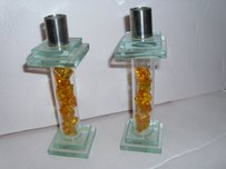Romantic Glass Candlestick Candle Holder Layered Tinted Glass & Amber Art Deco Home Decor