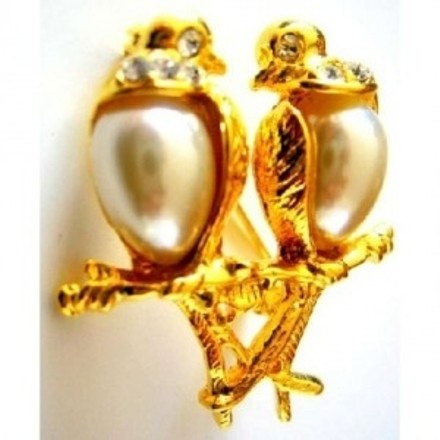 Gold Ivory Romantic Love Dude Birds Valentine Gift Excellent Gift Brooch/Pin