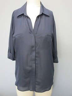 Rory Beca Silk Half Sleeves V Button Front Solid 1410 A Top navy blue