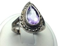 Ross-Simmons New ROSS SIMONS Sterling Silver Amethyst & Marcasite Tear Drop Ring 5.2g Sz 8