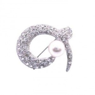 Round Snake Head Cubic Zircon Brooch Pearls Brooch Crystals Encrusted