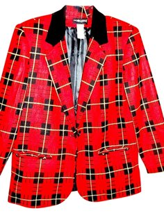 Sag Harbor Plaid Multi-color Jacket Lined Wool Blend Red, Black, White Blazer