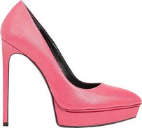 Saint Laurent Pebbled Fuchsia Platforms