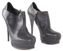 Saint Laurent Yves Ysl Leather Tribute Ankle Boots Gray Platforms