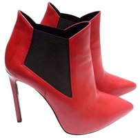 Saint Laurent Ankle Black Elastic Insets Pointy Toe Red Boots