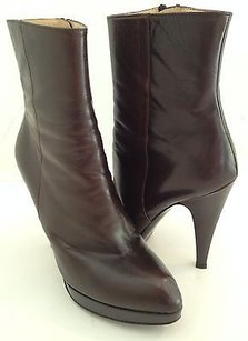 Saint Laurent Ysl Yves Leather Heels Platforms Fashion Ankle K Brown Boots