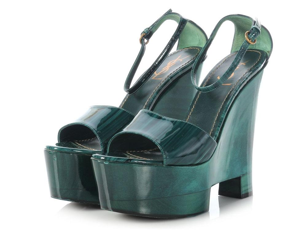 23184785b878 ... Saint Laurent Green Wood Wood Wood Grain Wedge Sandals Size US 10  Regular (M