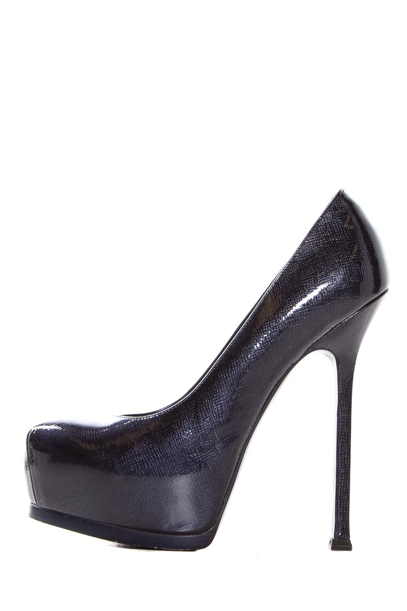 f257e9309ec Saint Laurent Navy Leather Leather Leather Tribut Two Platforms Pumps Size  EU 37.5 (Approx. US 7.5) Regular (M