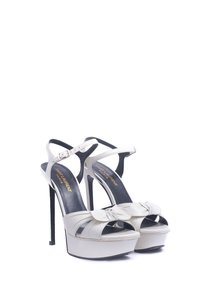 Saint Laurent Platform Stiletto White Sandals