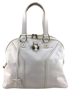 Saint Laurent Ysl Yves Sac Muse Leather Two Strap Handbag Satchel in White