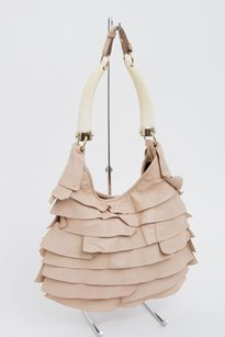 Saint Laurent Yves Ysl Mombasa Blush Leather Tiered Ruffle Shoulder Bag