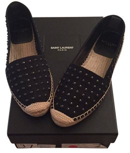 Saint Laurent Studded Face Flat Blac Flats