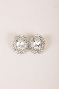 Saint Laurent Vintage Yves Saint Laurent Silver Chunky Rhinestone Hem Oval Clip-on Earrings