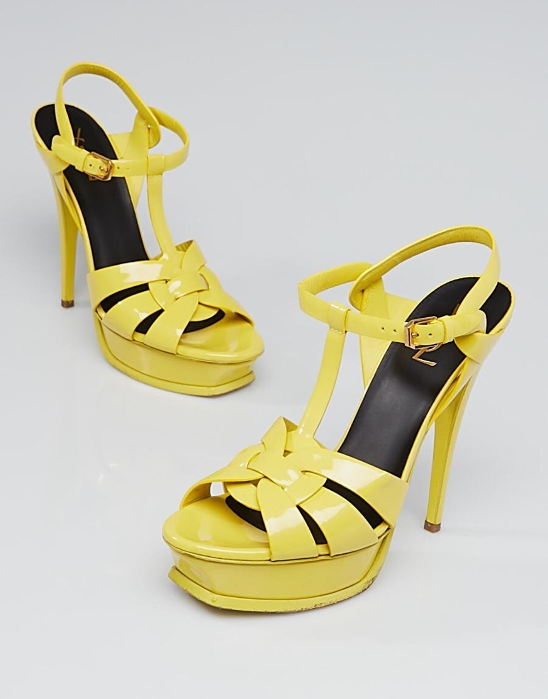 152b28c5493 ... Saint Laurent Yellow Tribute Yves Patent Patent Patent Leather Sandals  Size US 10.5 Regular (M ...
