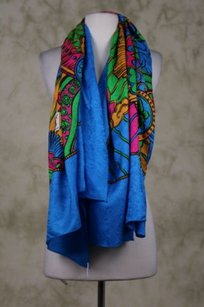 Saint Laurent Yves Saint Laurent Womens Blue Scarf Os Silk Floral Casual