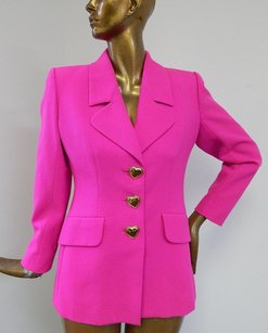 Saint Laurent Yves Saint Laurent Ysl France 100 Wool Fuscia Jacket Heart Buttons