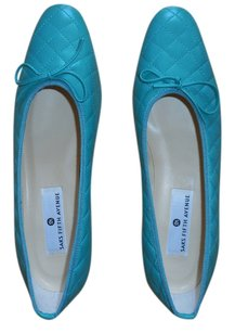 Saks Fifth Avenue Quilted Leather Light Emerald Green Flats