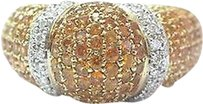 Salavetti Salavetti 18kt Gem Orange Sapphire Diamond Pave Yellow Gold Dome Ring 5.58ct