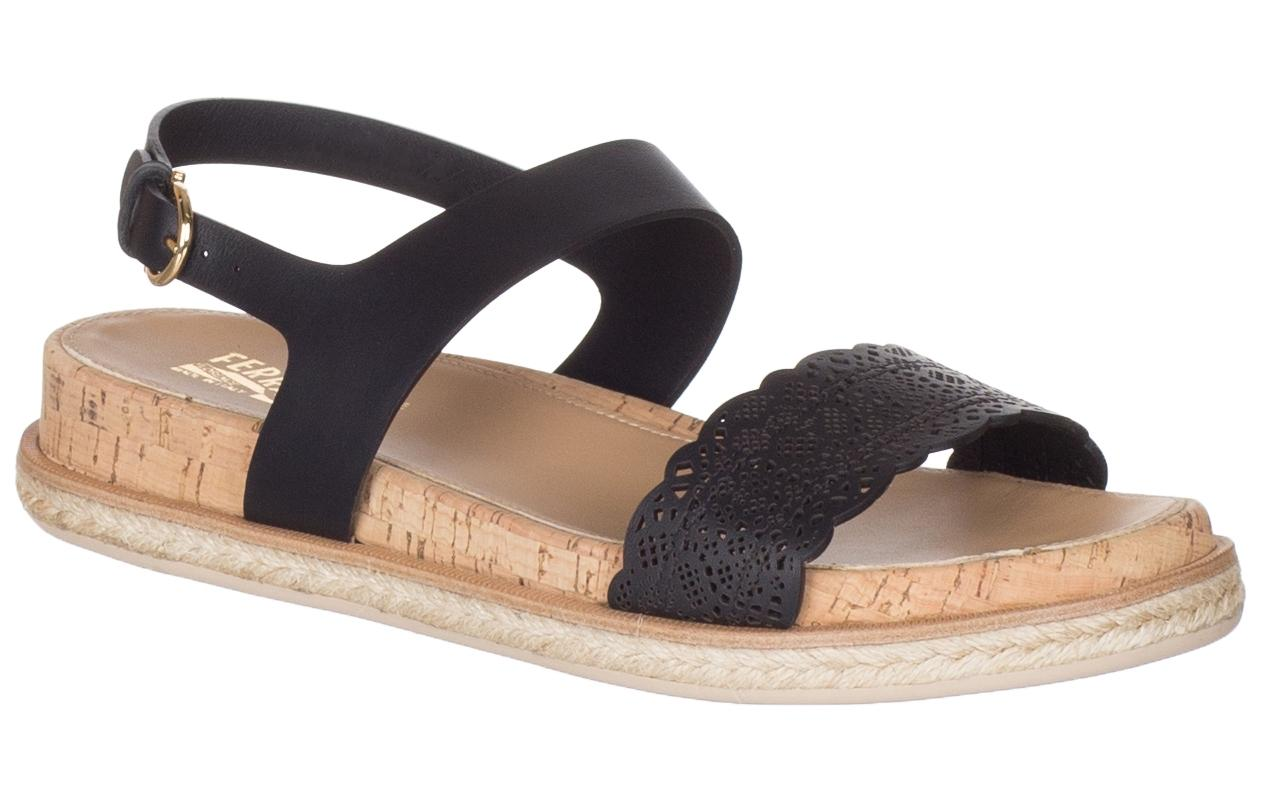 31a238502 Salvatore Ferragamo Black Leather Gianette Laser Cut Cut Cut Sandals Size US  9.5 Regular (M