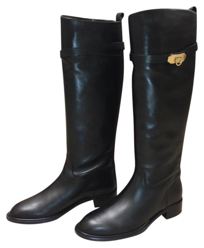 Salvatore Ferragamo Round Toe Lining Leather Knee High Black Boots ...