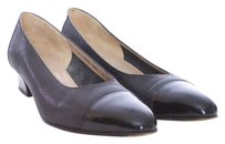 Salvatore Ferragamo Leather Patent Leather Capped Italian Embossed Almond Toe Boutique Classic Black Flats