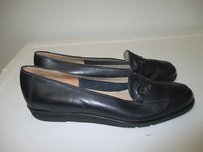 Salvatore Ferragamo Navy Leather Wedge Loafer 3a Bin 1920 Blue Flats