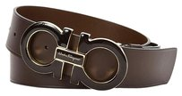 Salvatore Ferragamo NEW Double Gancini Buckle Belt Brown