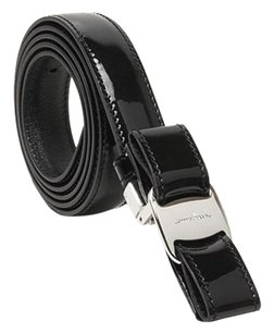 Salvatore Ferragamo Salvatore Ferragamo Vara Bow Buckle Belt Patent Black
