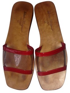 Salvatore Ferragamo Vintage Red/Clear Sandals