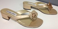 Sam & Libby And Slip On Chunky Heel Floral Top Accent Flip Flop B3443 Beige Sandals