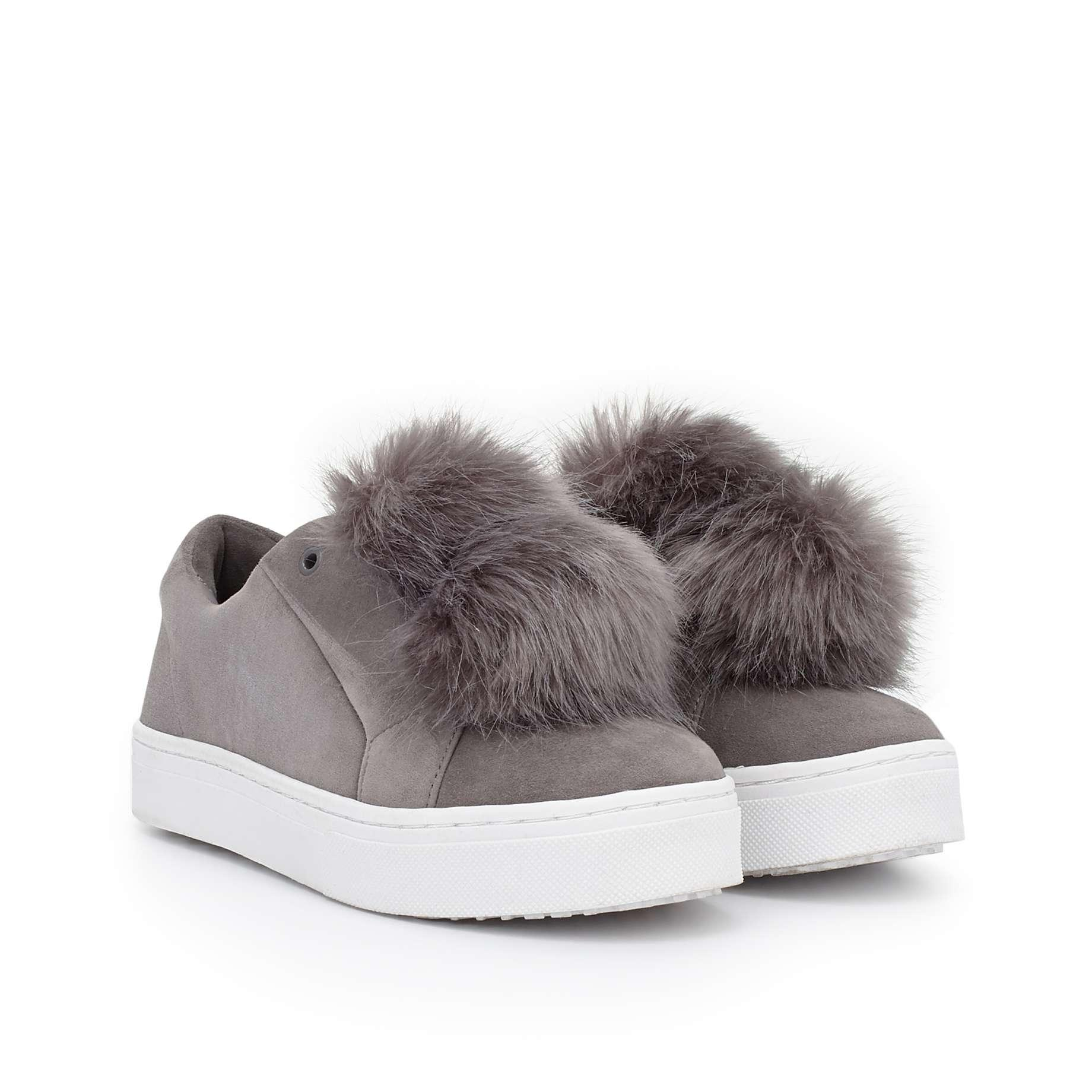 Sam Edelman Sneaker Yeezy Puff Ball Faux Fur Party Grey Athletic ...