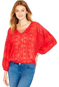 Sanctuary Clothing Peasant Boho Crochet Elastic Embroidered Top Red
