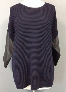 Sandro Navy Wool Blend Textured Stripe Faux Sleeve Sma4199 Sweater