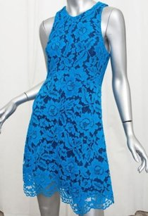 Sandro short dress Blue Womens Scalloped on Tradesy