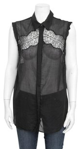 Sandro Lace Inset Panel Raw Edge Sleeveless Button Up Shirt 3l Top Black