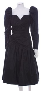 Scaasi Polyester Sweetheart Ruched Bows Puffy Sleeves Tulle Dress