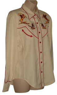 Scully Button Down Shirt Beige