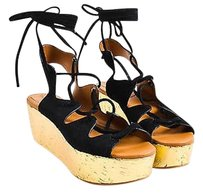 See by Chlo Chloe Suede Gold Black Sandals