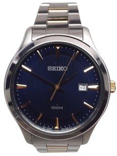 Seiko Seiko Blue Gold Silver Two Toned Stainless Steel Mens Watch Sur081 Face Tilted