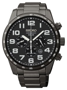 Seiko Seiko Core SSC231 Solar Black IP Steel Men's Chronograph Watch