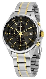 Seiko Seiko Men's Sks481 Chronograph Black Dial Two Tone Watch