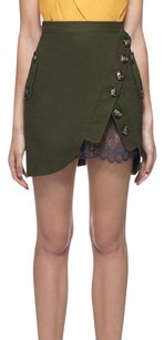 self-portrait Lace Military Inspired Pockets Luxury Mini Skirt army green