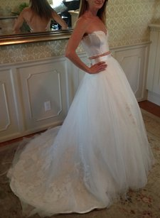 Separate Tulle Overskirt Hand Placed Lace Hem