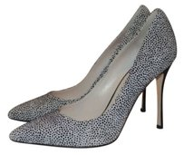 Sergio Rossi Black White Speckled Suede Heels Multi-Color Pumps