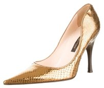 Sergio Rossi Metallic Snakeskin Pointed Toe Leather Stacked Heel Gold Pumps
