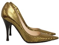 Sergio Rossi Metallic Snakeskin Pointed Toe Party Leather Gold Pumps