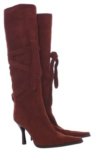 Sergio Rossi Wood Stacked Heel Suede Rubber Italian Pointed Toe Brown Boots