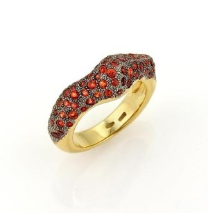 Sergio Valente Valente 1.31ct Orange Sapphire Contour 18k Yellow Gold Band Ring
